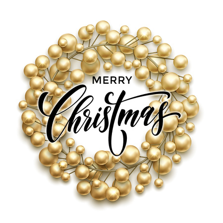 christmas gold: Christmas wreath of golden baubles garland. Vector greeting card with text Merry Christmas and gold decoration Illustration