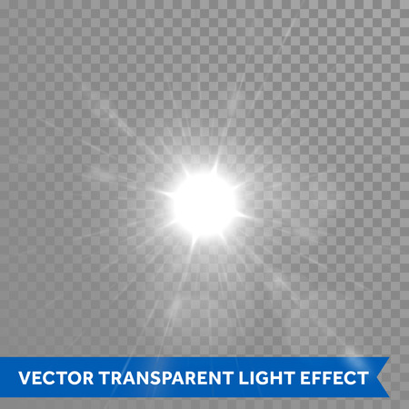 glowing star: Shining and glowing sun light effects. Vector star sun flash explosion. Ray glow light with lens flare Illustration