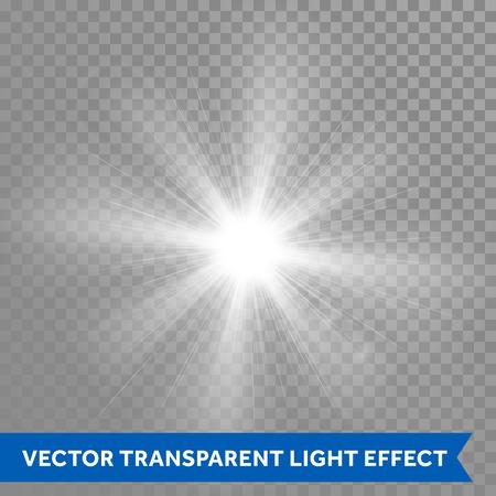 Vector gloeiende zonlicht effecten. Ster zon flash explosie. Ray gloeilamp met lensflare Vector Illustratie