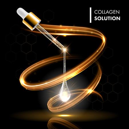 productos naturales: colágeno en suero gota de aceite dorado tratamiento cosmético. concepto hidratante cuidado de la piel de la cara. Prima gotita enzima brillante.