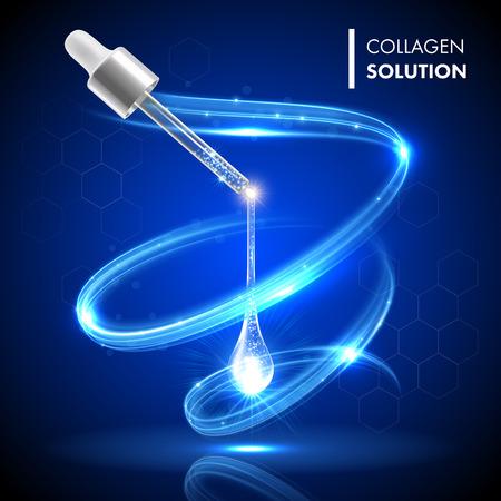 Oro collagene siero olio droplet trattamento cosmetico. concetto di idratazione cura della pelle del viso. Premium brillante goccioline enzima. Vettoriali