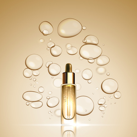 3D Gold serum essence oil bottle on bubble liquid effect background. Premium skin care treatment ad concept template. Vector gold water oil bubbles illustration