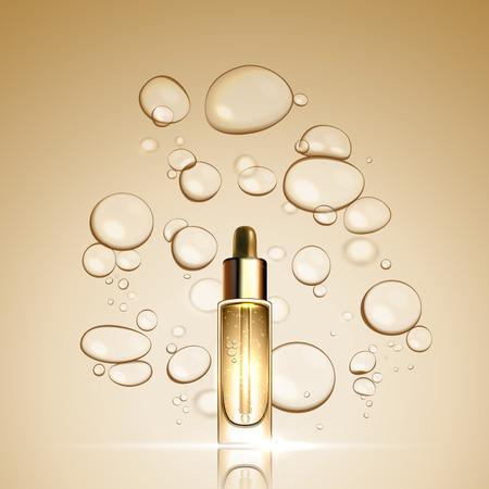 botella de aceite de esencia de suero del oro 3D sobre fondo efecto de la burbuja. cuidado de la piel plantilla de tratamiento de anuncios concepto de prima. Vector de petróleo en aguas de oro burbujas de ilustración