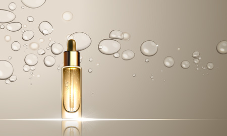 3D dropper bottle of collagen hydration moisturizer. Face skin care premium ad design template. Gold water, oil drops background. Vector illustration Ilustrace