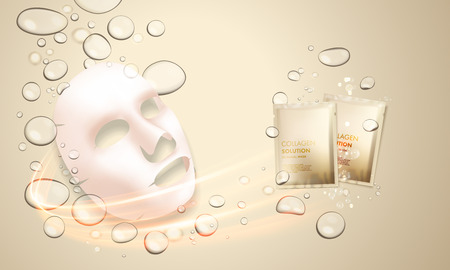 3D gezicht huidbehandeling masker met collageen druppels. Skincare oplossing fles hydratatie moisturizer en sachet pacakge. Premium advertentie ontwerp sjabloon. Goud water, olie-druppels achtergrond. vector illustratie Stock Illustratie