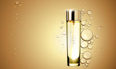 3D Gold serum essence oil bottle on bubble liquid effect background. Premium skin care treatment ad concept template. Vector gold water oil bubbles illustration
