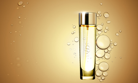 3D Or l'essence de sérum bouteille d'huile sur le liquide à bulles effet fond. Prime soins de la peau traitement ad concept de modèle. Vector eau d'or huile bulles illustration Banque d'images - 66973827