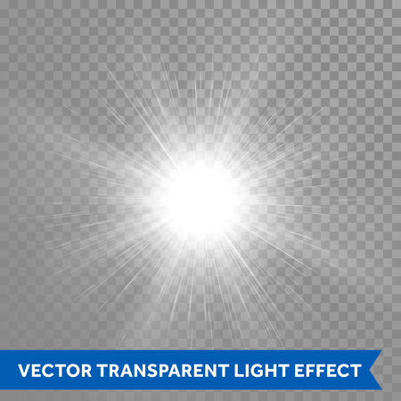 Vector glowing sun light effects. Star sun flash explosion. Ray glow light with lens flare Illustration
