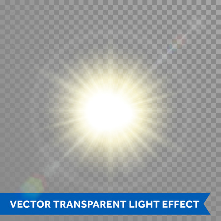 Vector glowing sun light effects. Star sun flash explosion. Ray glow light with lens flare Çizim