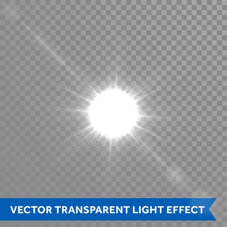 bright sun: Bright sun light effects. Glow star sun flash explosion. Vector ray glow light with lens flare Illustration