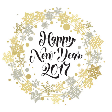 gold silver: Happy 2017 New Year text for greeting card. Golden and silver ornaments with Christmas wreath decoration of snowflakes