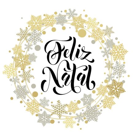 Feliz Natal. Portuguese Merry Christmas text. Vector greeting card with golden and silver wreath ornament snowflakes and stars