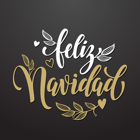 Feliz Navidad spanish text for Merry Christmas greeting card. Golden calligraphic lettering design with flourish flowery decoration and heart on black background Illustration