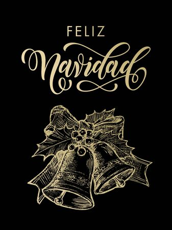 gold christmas background: Feliz Navidad spanish text for greeting Merry Christmas gold bells ornament decoration with holly bow tie. Vector golden glittering lettering on black background
