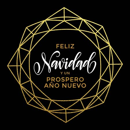 ano: Feliz Navidad y Prospero Ano Nuevo luxury gold greeting card with golden crystal ornament. Spanish Merry Christmas card vector poster with golden glitter decorative frame on luxury black background