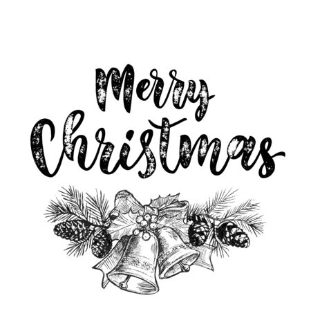 pine decoration: Merry Christmas jingle bells. Christmas bell ornament decoration with holly bow tie on fir and pine garland with cones. Christmas greeting modern trend card, poster lettering Illustration