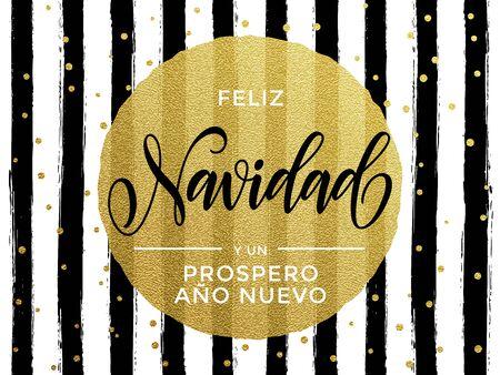 Feliz Navidad Het Spaanse Vrolijke goud schittert tekst voor groetkaart. Vector zwarte strepen met vergulde cirkel van goudfolie Vector Illustratie