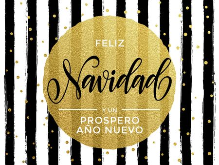 black gold: Feliz Navidad Spanish Merry Christmas gold glitter text for greeting card. Vector black stripes with gold foil gilt circle Illustration