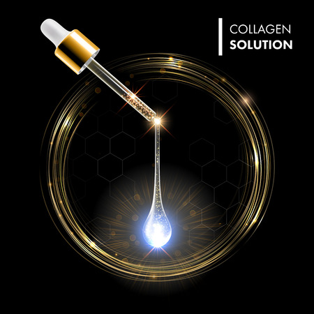 Serum premium drop. Collagen serum with dropper on golden circles shine background. Ad skincare cosmetic concept. Vector transparent drop and dropper