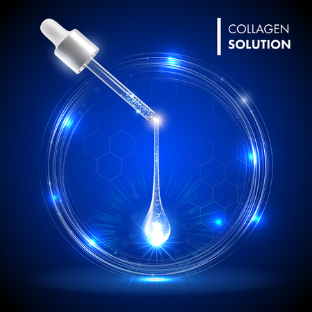 Serum premium drop. Collagen serum with dropper on blue circles shine background. Ad skincare cosmetic concept. Vector transparent drop and dropper