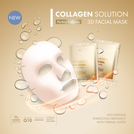 Facial mask sheet with gold collagen sachet on golden water oil bubble background. Skincare collagen hydration cream moisturizer. Face skincare premium ad design template Иллюстрация