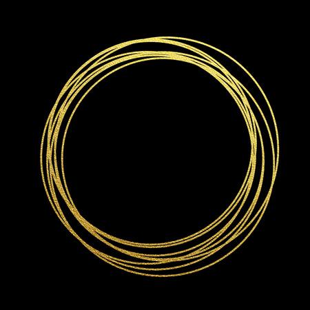 黄金箔金箔の金の輝く円。黄金の輝きテクスチャのリング。クリスマスと新年の装飾デザインのお祭りのベクトルの背景