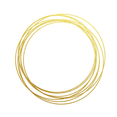 golden circles and rings. Decoration design element of gold foil gilding texture. Festive background for New Year and Christmas cards ornaments. Sparkling twirl design elements for interior decoration Vettoriali