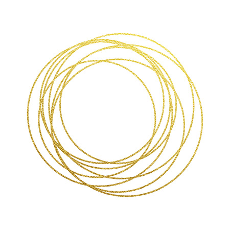 Gold circular lines with golden glitter texture. Golden rings elements for festive and luxury design and background. Sparkling ornament for interior and Christmas greeting card Illustration