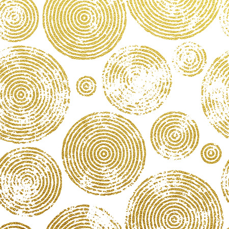 Abstract gold tree circles seamless pattern. Golden foil gilding texture. Vector circular lines glitter of tree growth annual rings imprints on white background. Premium interior wallpaper