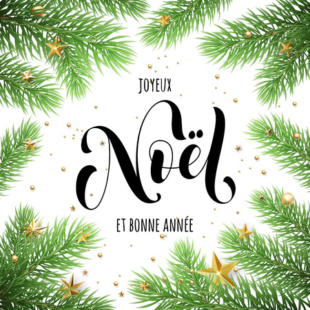 Joyeux Noel, Bonne Annee French text Merry Christmas and Happy New Year in frame of tree branches. Festive Christmas greeting card with Christmas stars ornaments Vetores