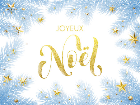 Spanish Christmas Spanish greeting card. Feliz Navidad poster template of pine and fir christmas tree branches, golden stars, ornament decorations. Calligraphy lettering text