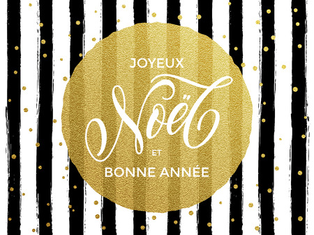 Merry Christmas Joyeux Noel, Bonne Annee New Year in French text.