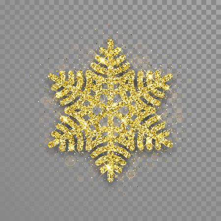 Glittering Snowflake ornament of golden glitter texture. Shining Christmas snowflake ornament decoration for New Year greeting card on transparent background