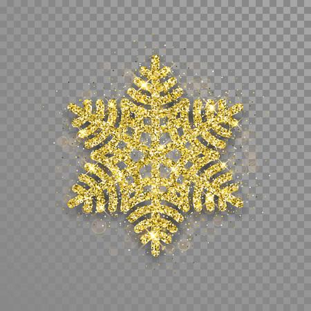 Glitzernde Schneeflocke-Ornament aus goldener Glitter-Textur. Glänzende Weihnachtsschneeflocke-Verzierungsdekoration für Neujahrsgrußkarte auf transparentem Hintergrund