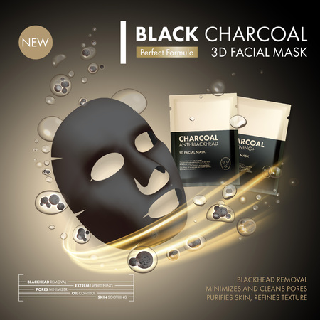 granule: Anti-blackhead charcoal mask with black and gold sachet on golden water oil bubble with charcoal granule background. Skincare cleaning detox treatment. Face skincare premium ad design template