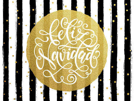 christma: Spanish Merry Christma Feliz Navidad s gold glitter text for greeting card.