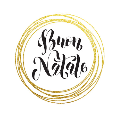 buon: Merry Christmas in Italian Buon Natale golden decoration ornament for Christmas card design. Buon Natale golden sparkling circle of and text calligraphy lettering.