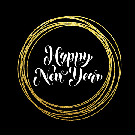 new year decoration: Happy New Year modern trendy greeting card golden glitter decoration