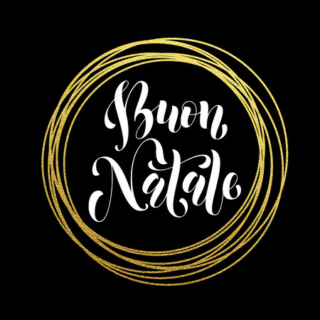 buon: Italian Merry Christmas Buon Natale golden decoration ornament for Christmas card design. Buon Natale golden sparkling circle of and text calligraphy lettering. Illustration
