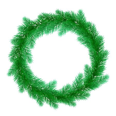 christmas element: Christmas wreath of pine, fir, spruce branches. Christmas tree. Vector ornament decoration design element for greeting card or Christmas bow door decoration