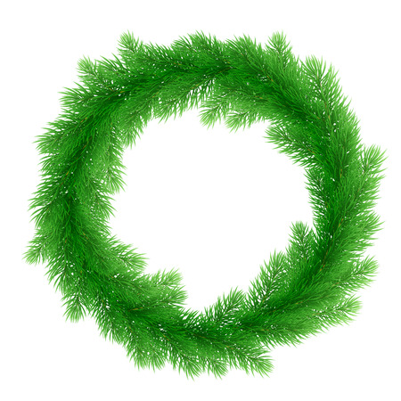 pine decoration: Christmas decoration design element. Vector wreath of pine, fir, spruce branches. Christmas tree garland for greeting card or Christmas bow door decoration