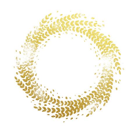 laurel leaf: Golden ornament decoration of Christmas. Glittering gold foil floral wreath imprint of leaf laurel garland. Decorative symbol for New Year and Christmas holiday background design Illustration