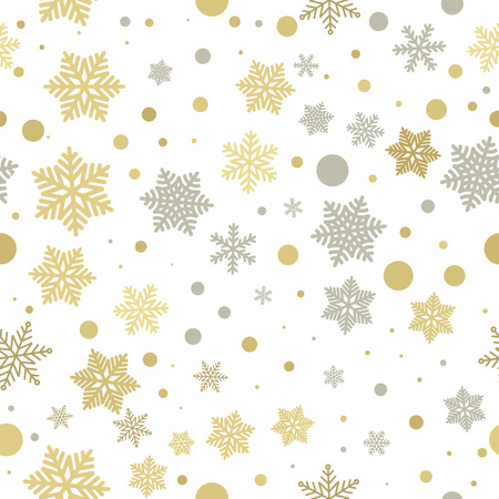 christmas snowflakes: Christmas decoration background. Vector pattern of winter golden and silver snowflakes. Falling holiday snow. Festive decorative Christmas or New Year gift wrapping paper Illustration
