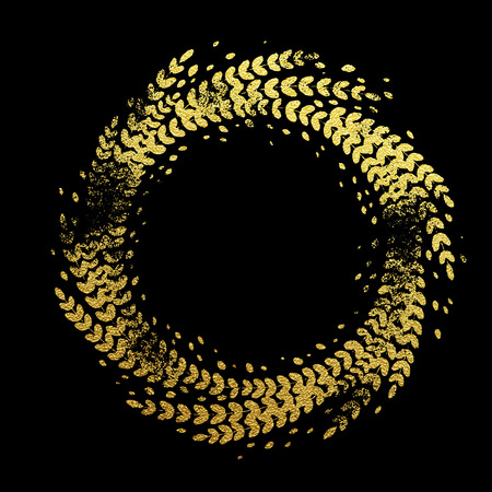 laurel leaf: Golden background with floral wreath decorative ornament. Glittering gold foil floral wreath imprint of leaf laurel garland. Symbol for New Year and Christmas holiday black background design Illustration