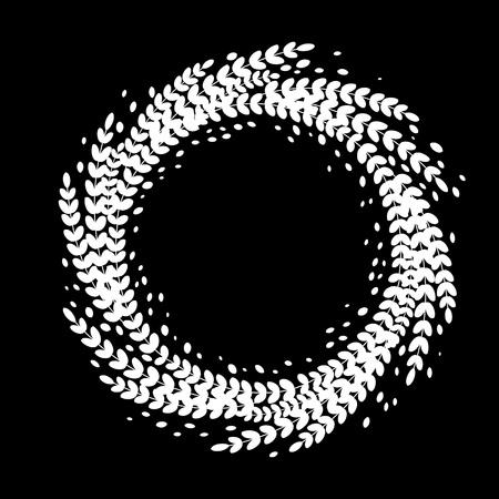 laurel leaf: Ornament decoration of Christmas floral wreath. Imprint of leaf laurel garland. Decorative symbol for New Year and Christmas holiday design Illustration