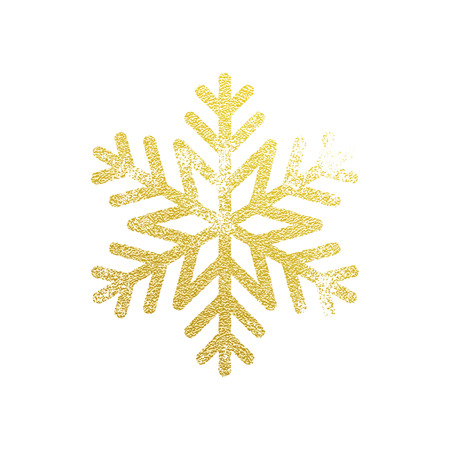 gold ornament: Snowflake with gold glitter texture. Christmas, New Year golden glittering ornament decoration on white background with shining sparkling light effect. Vector isolated icon Illustration