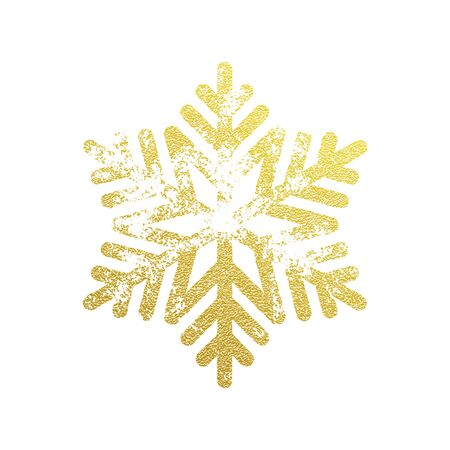 Glittering Snowflake ornament of golden glitter texture. Shining Christmas snowflake ornament decoration for New Year greeting card on white background