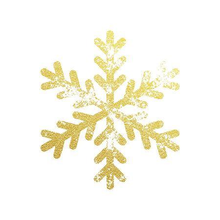 sparkling: Snowflake with gold glitter texture. Christmas, New Year golden glittering ornament decoration on black background with shining sparkling light effect. Vector isolated icon on white background