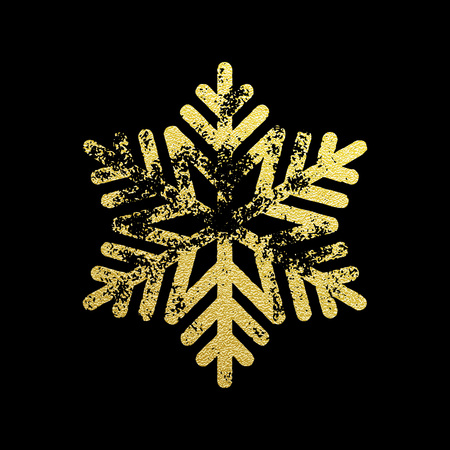 Golden glitter symbol of Christmas snowflake. Christmas decoration with shining sparkling light effect. Vector isolated icon. New Year golden glittering ornament on black background Illustration