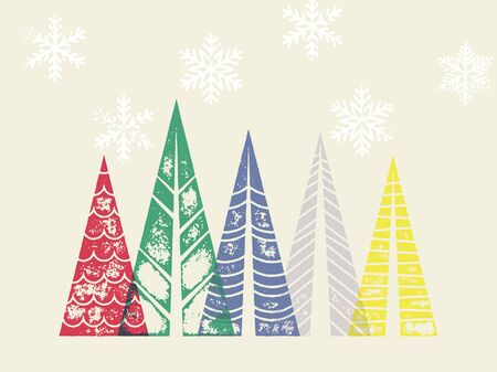 snow forest: Winter holidays greeting card with Christmas trees forest in geometric shape. Snow snowflakes background for New Year decoration ornaments. Vector trendy art poster